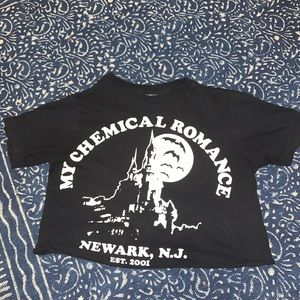 Cropped black my chemical romance top